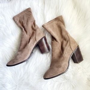 F21 Taupe Gray Sock Heeled Boots Size 9